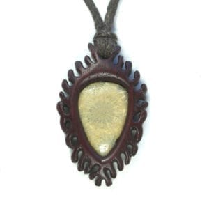 """Coral Dreaming"""" Necklace in Purple-heart and Fossil Coral"""